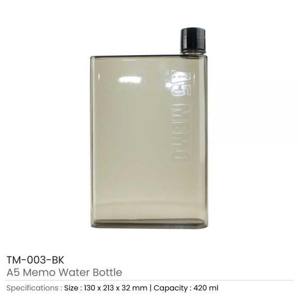 A5 Memo Water Bottles Black
