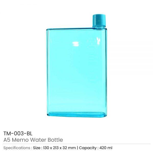 A5 Memo Water Bottles Blue