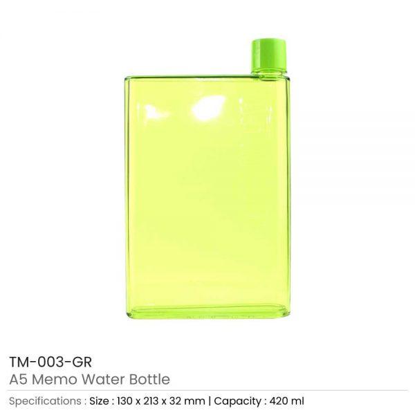A5 Memo Water Bottles Green