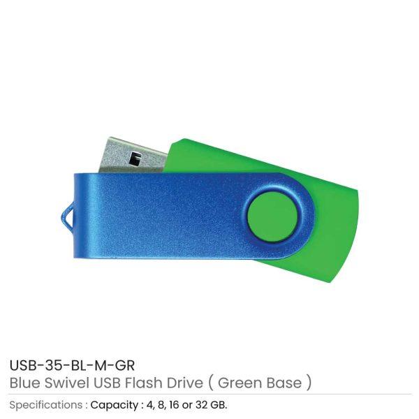 Blue Swivel USB - Green Case