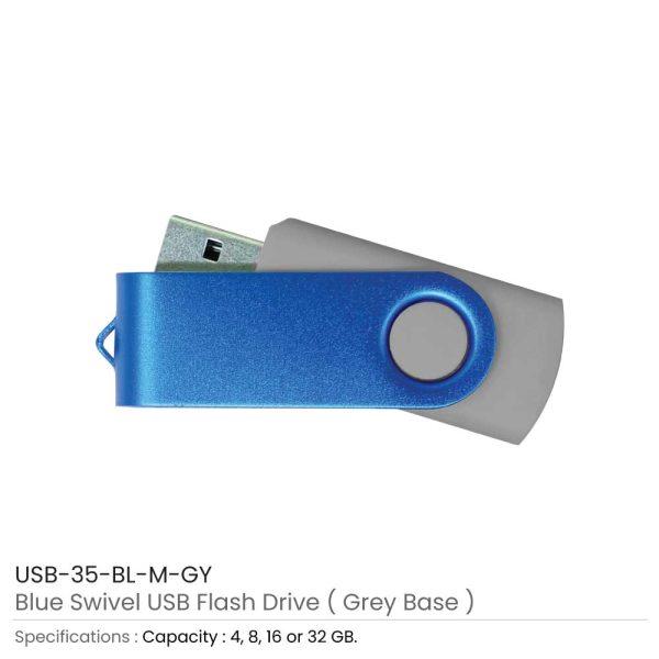 Blue Swivel USB - Grey Case