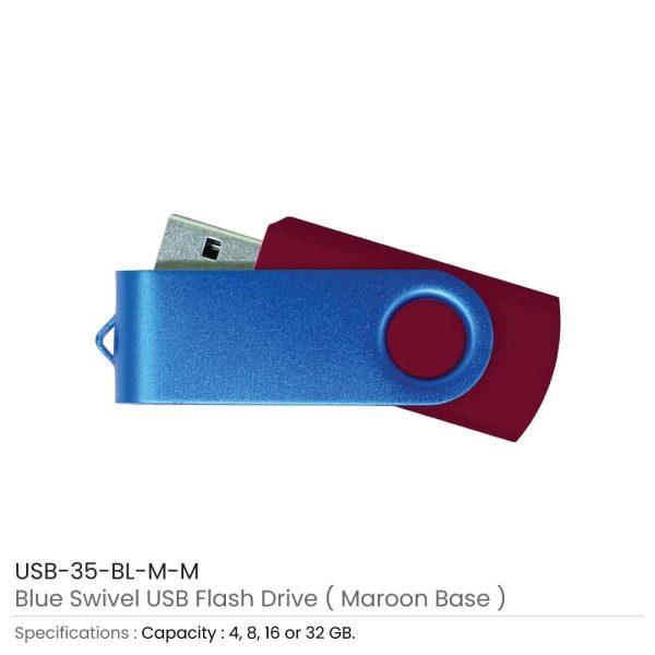Blue Swivel USB - Maroon Case