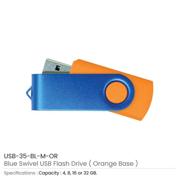 Blue Swivel USB - Orange Case