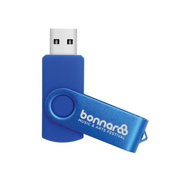 Branding Blue Swivel USB Flash Drives