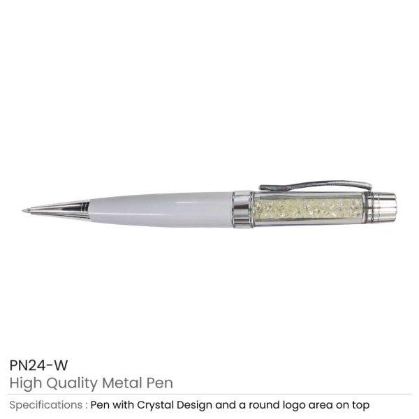 Crystal Metal Pens White