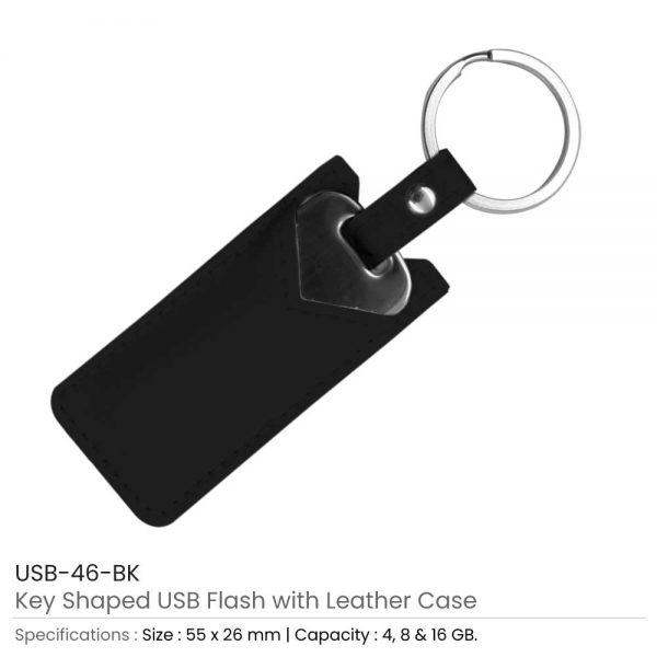 Key Shaped USB with Black Leather Case