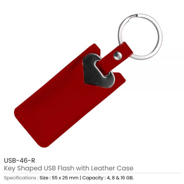 Key Shaped USB with Red Leather Case