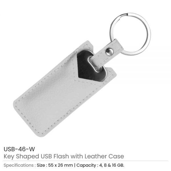 Key Shaped USB with White Leather Case