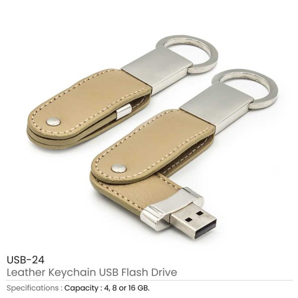 Leather Keychain USB Flash Drives 24