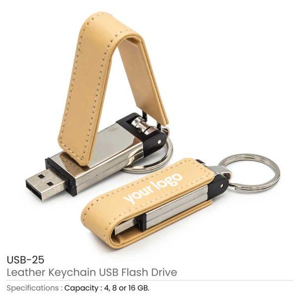 Leather Keychain USB Flash Drives 25