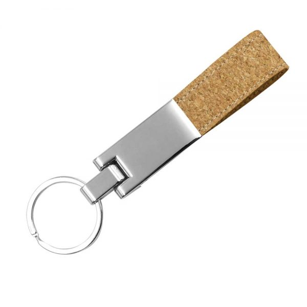 Metal Keychain with Cork Strap