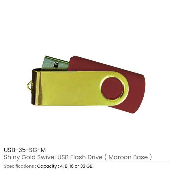 Shiny Gold Swivel USB - Maroon