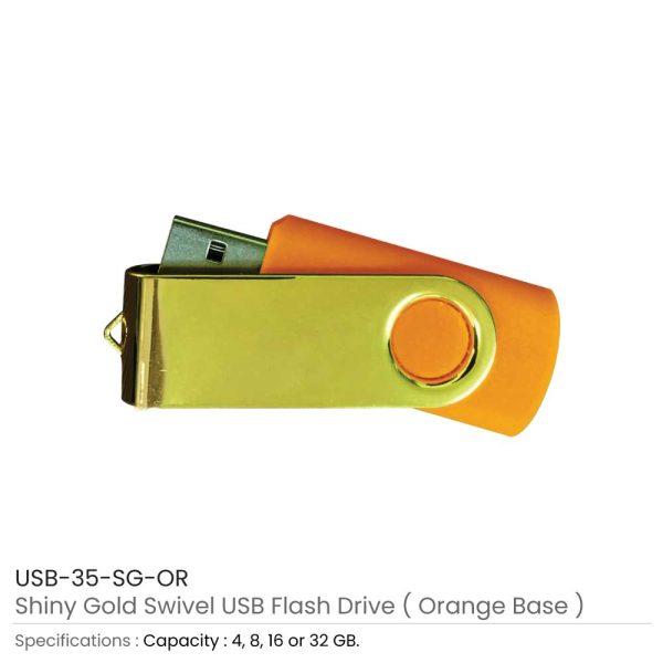 Shiny Gold Swivel USB - Orange