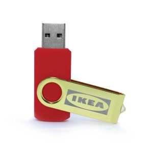 Branding Shiny Gold Swivel USB Flash