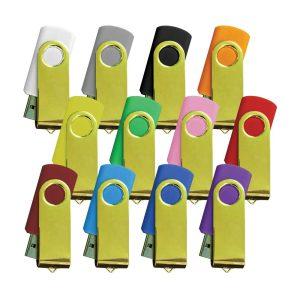 Promotional Shiny Gold Swivel USB Flash