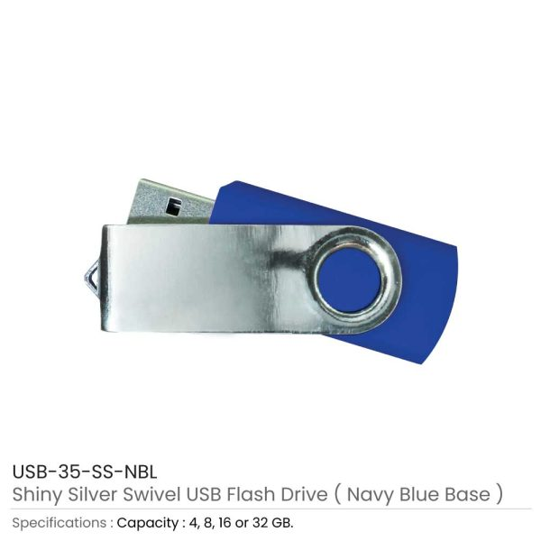 Swivel USB Flash - Navy Blue