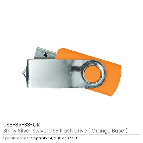 Swivel USB Flash - Orange