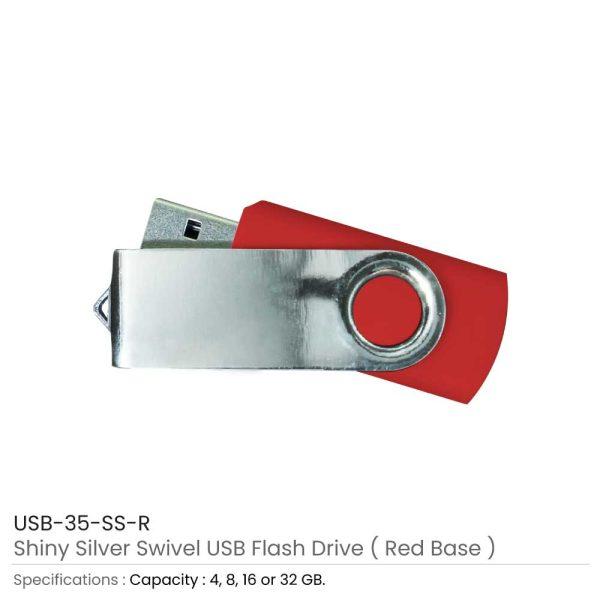 Swivel USB Flash - Red