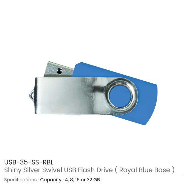 Swivel USB Flash - Royal Blue