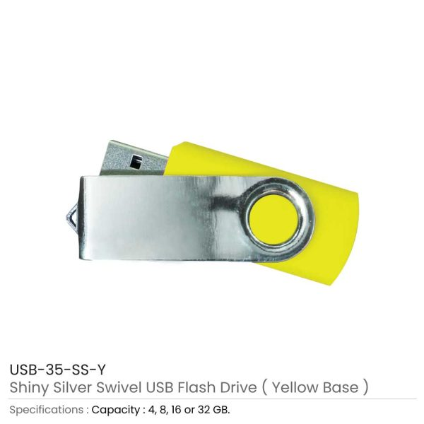 Swivel USB Flash - Yellow