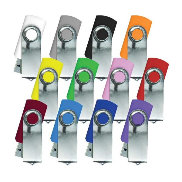 Promotional Shiny Silver Swivel USB Flash