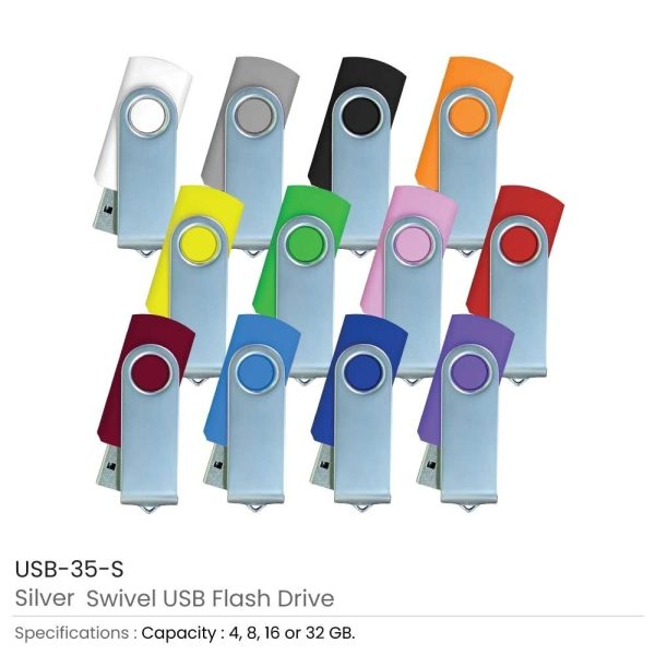 Promotional Silver Swivel USB Flash