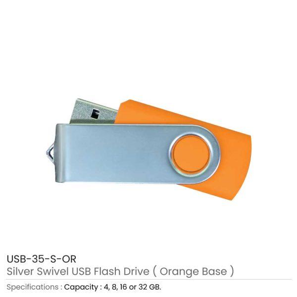 Silver Swivel USB Flash Orange Case