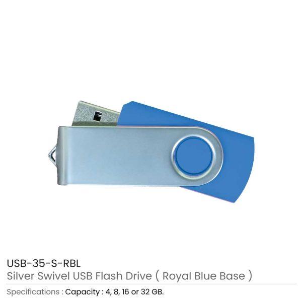 Silver Swivel USB Flash Royal Blue Case