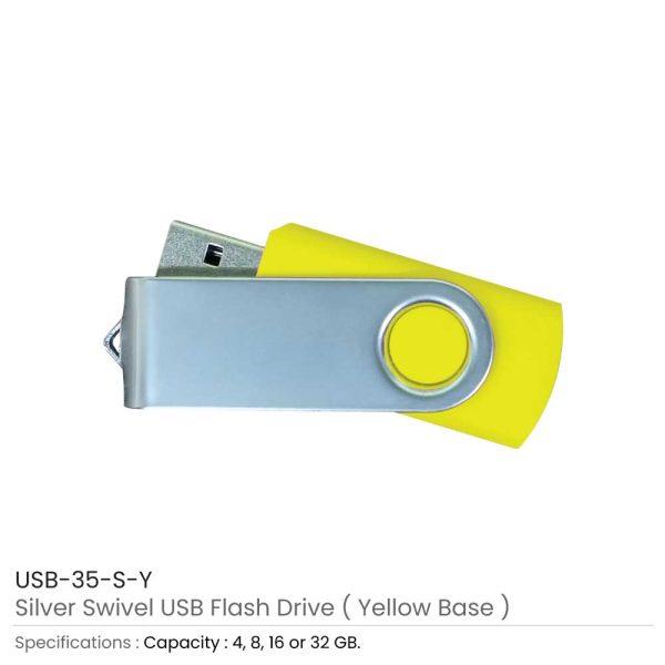 Silver Swivel USB Flash Yellow Case