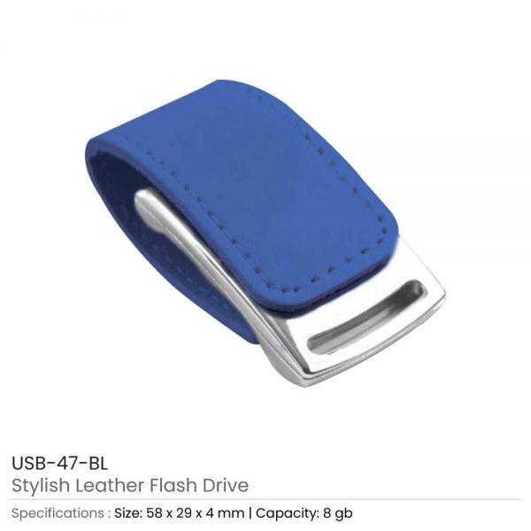 Stylish Leather USB Blue