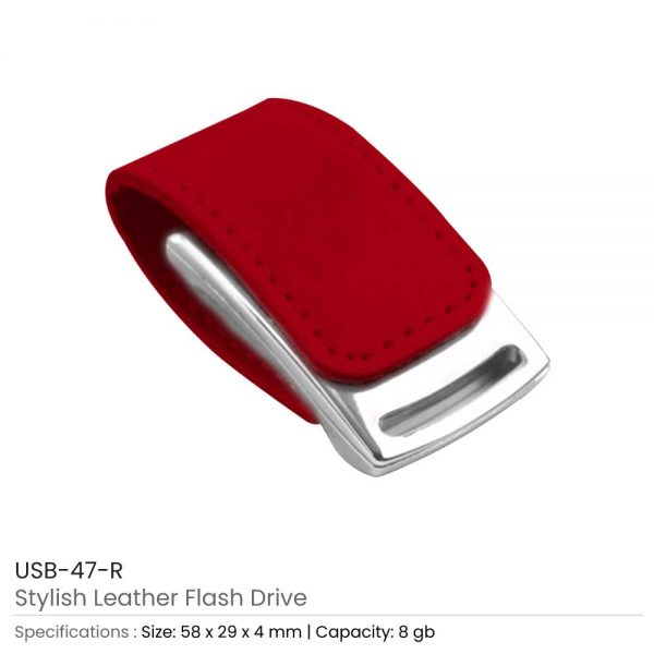 Stylish Leather USB Red