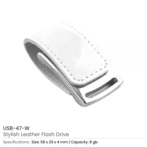Stylish Leather USB White
