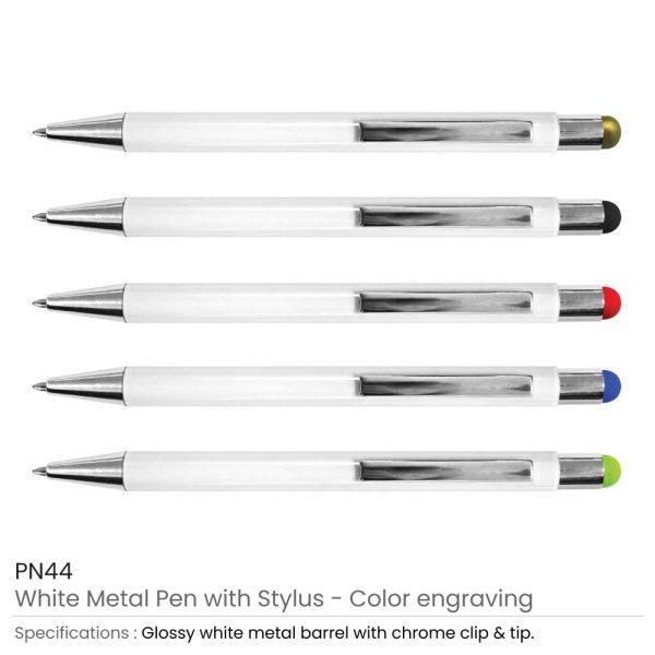 Stylus Metal Pens - White