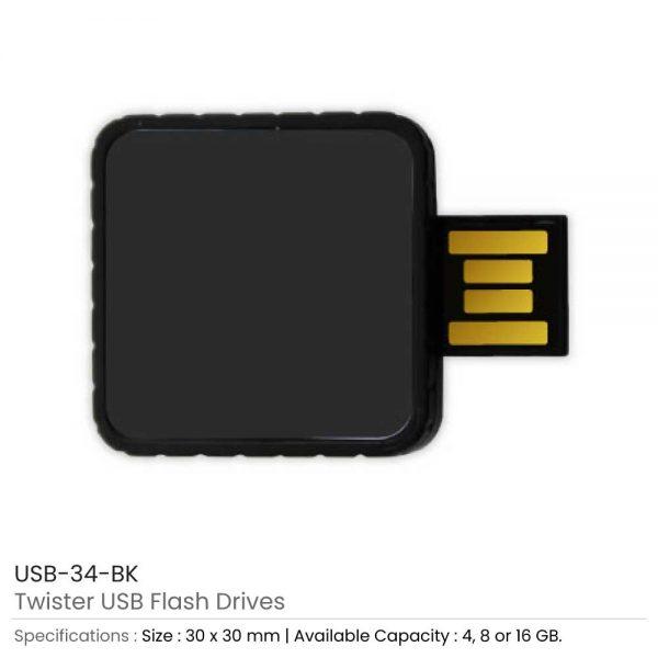 Twister USB Flash Drives Black