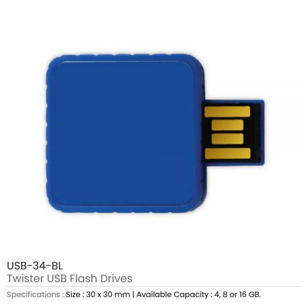 Twister USB Flash Drives Blue