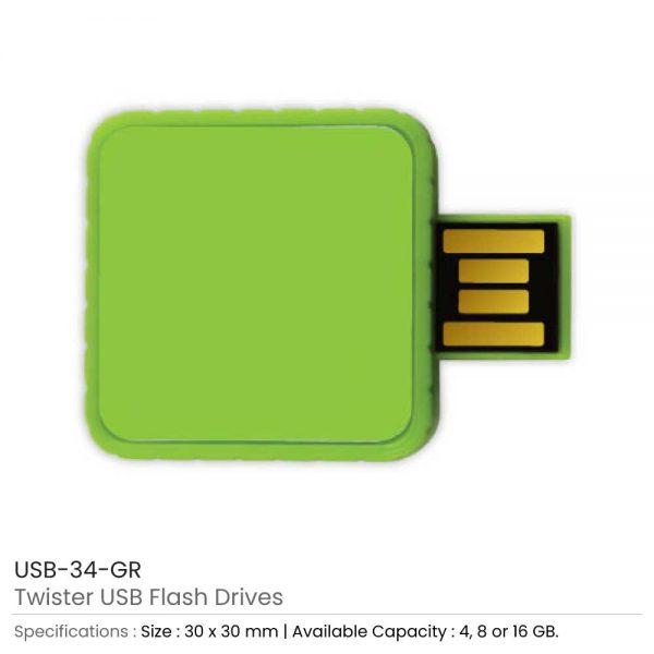 Twister USB Flash Drives Green