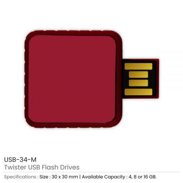 Twister USB Flash Drives Maroon