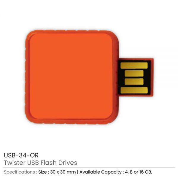 Twister USB Flash Drives Orange