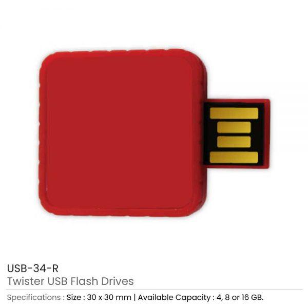 Twister USB Flash Drives Red