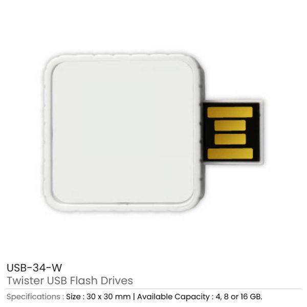 Twister USB Flash Drives White