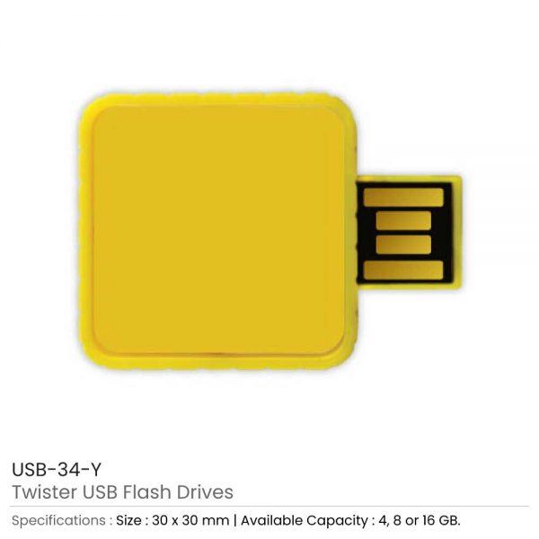 Twister USB Flash Drives Yellow