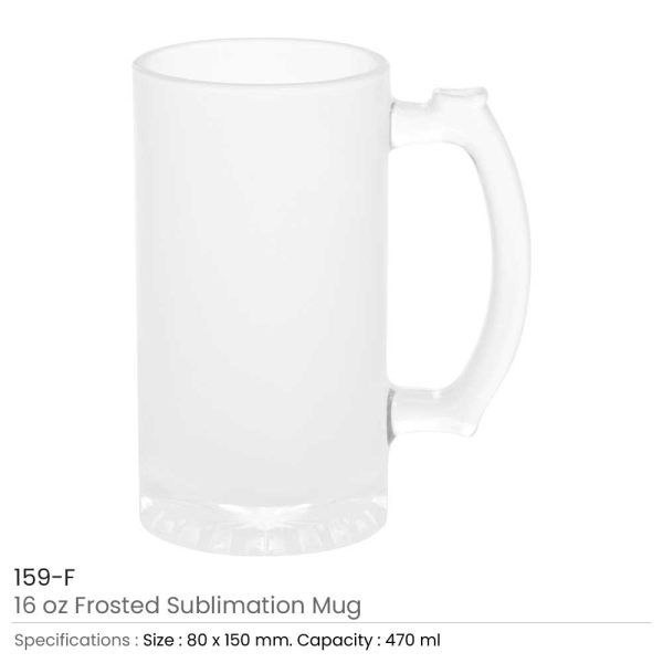 Frosted Glass Beer Mugs 159-F