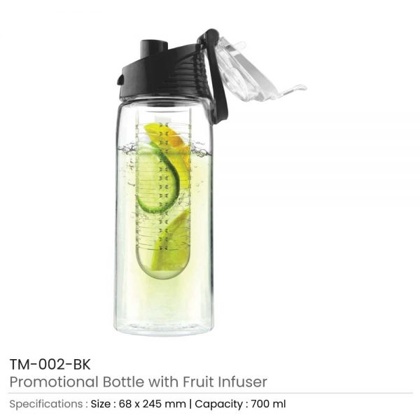 Water Bottle with Fruit Infuser Black