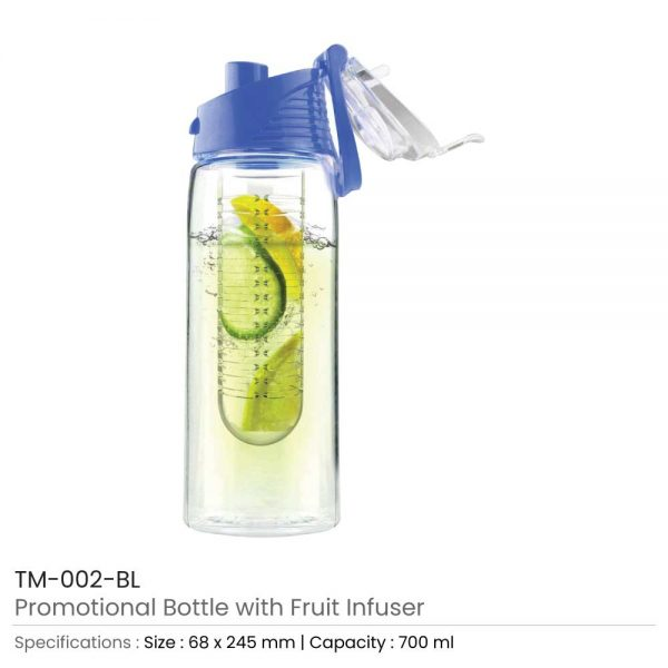 Water Bottle with Fruit Infuser Blue