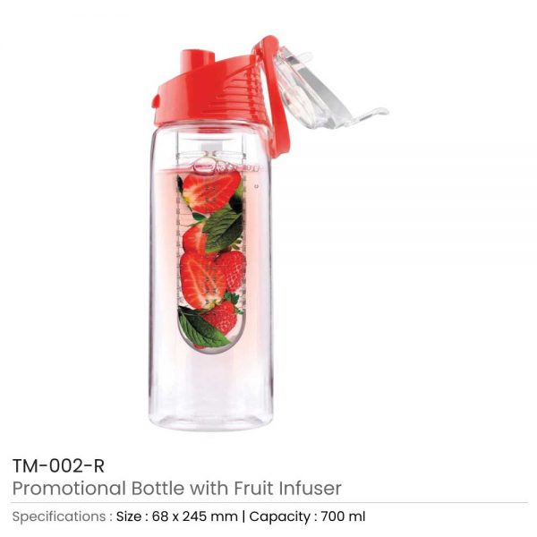 Water Bottle with Fruit Infuser Red
