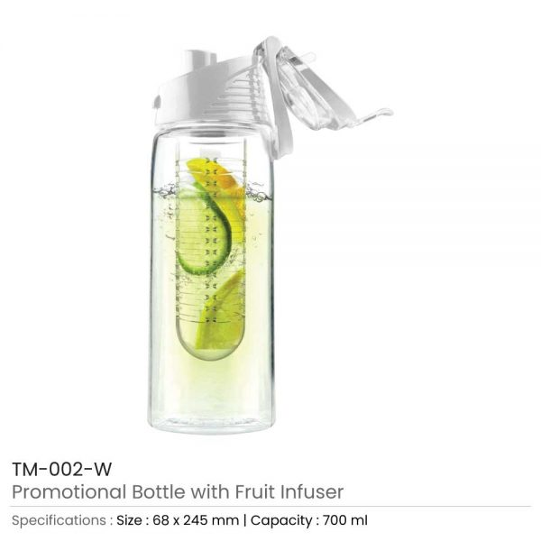 Water Bottle with Fruit Infuser White