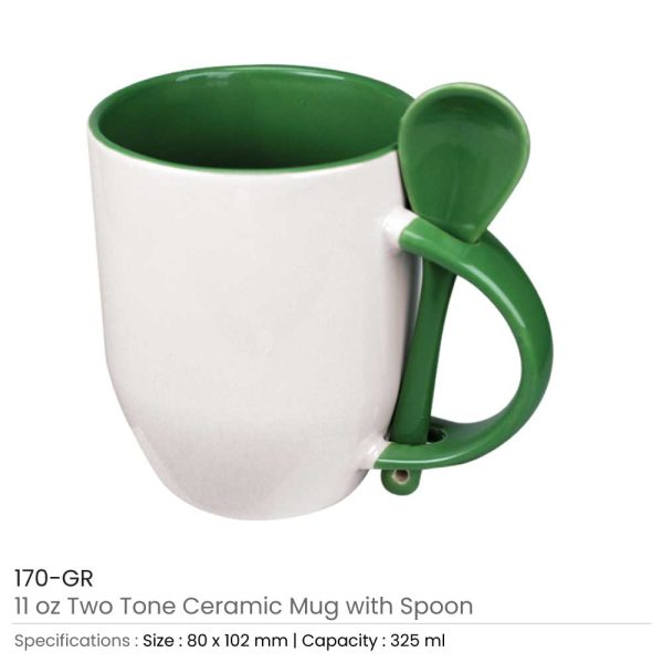 Ceramic Mugs with Spoon 170-GR