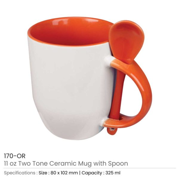 Ceramic Mugs with Spoon 170-OR