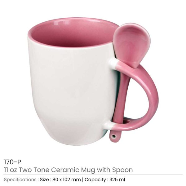 Ceramic Mugs with Spoon 170-P