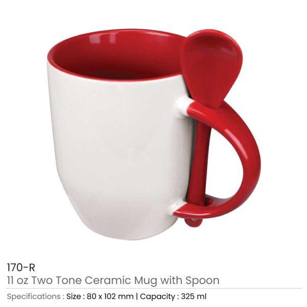 Ceramic Mugs with Spoon 170-R